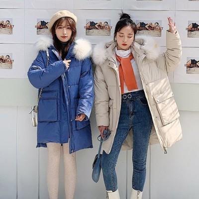 2020新品冬季韓流ダウンコート厚手アウターレディースゆったり中綿アウターロングコート中綿コートレディース