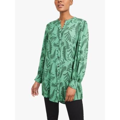 ホワイ トスタッフ シャツ レディース トップス White Stuff Alaia Leave Print Tunic Top, Green/Multi