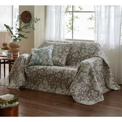膨れ織マルチカバー(プランタン) 立体的なバラ柄をジャカードで表現 お部屋を素敵な雰囲気に/ベージュ/横200×縦200cm