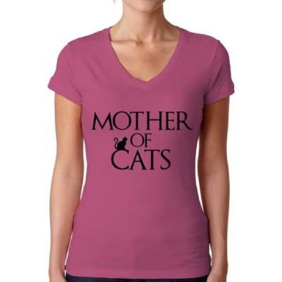 レディース 衣類 トップス Awkward Styles Women's Mother Of Cats Fun V-neck T-shirt Pet Lover Gift Tシャツ