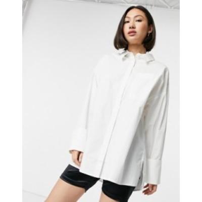 エイソス レディース シャツ トップス ASOS DESIGN long sleeve oversized dad shirt in cotton in white White