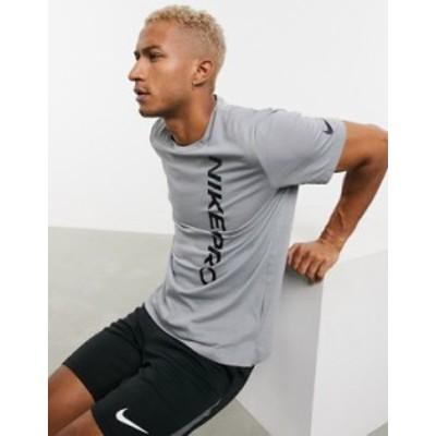 ナイキ メンズ シャツ トップス Nike Pro Training t-shirt with burnout logo in gray Gray