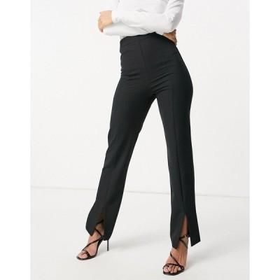 エイソス レディース カジュアルパンツ ボトムス ASOS DESIGN slim high rise pants with split hem in black Black