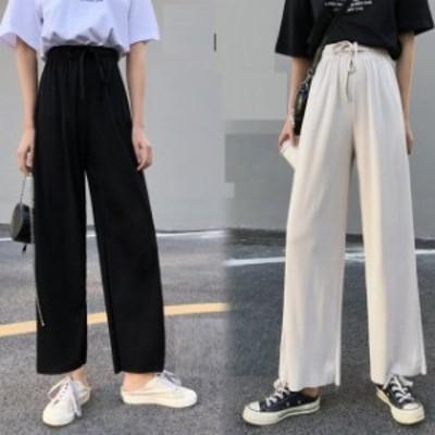 九分丈 ズボン ストレート ゆるい 広脚 パンツ 女子 高腰 着やせレトロ女装