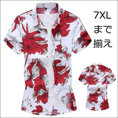 半袖シャツ アロハシャツ メンズ カジュアルシャツ 花柄 シャツ 男性 半袖 折襟 大きいサイズ リゾート お兄系 プリ  ント 夏