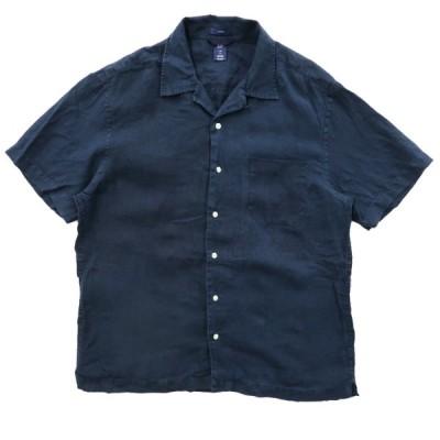 GAP ギャップ 開襟 リネン ボックスシャツ ネイビー サイズ表記:L