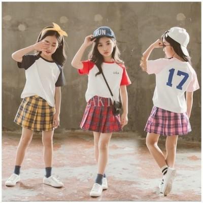 子供服女の子セットアップtシャツスカートキッズ夏服上下セット遠足ファッション通学お出かけ海外旅行