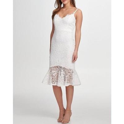 ゲス レディース ワンピース トップス Sweetheart Neck Sleeveless Flounce Hem Lace Dress