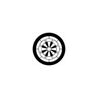 家紋シール 源氏車紋 直径4cm 丸型 白紋 4枚セット KS44M-3557W