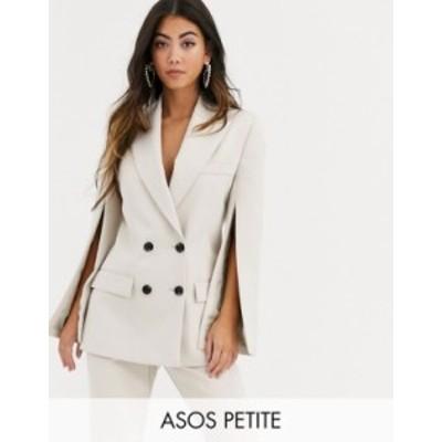エイソス レディース ジャケット・ブルゾン アウター ASOS DESIGN Petite split sleeve suit blazer Stone