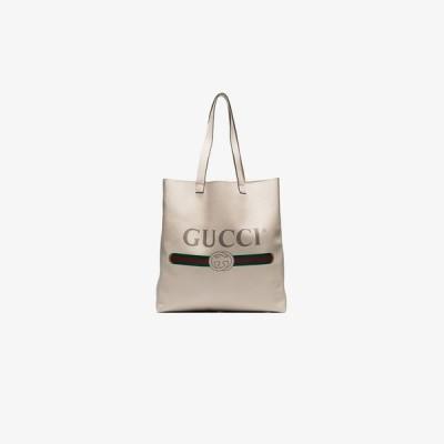 グッチ Gucci メンズ トートバッグ バッグ white logo print leather tote bag white