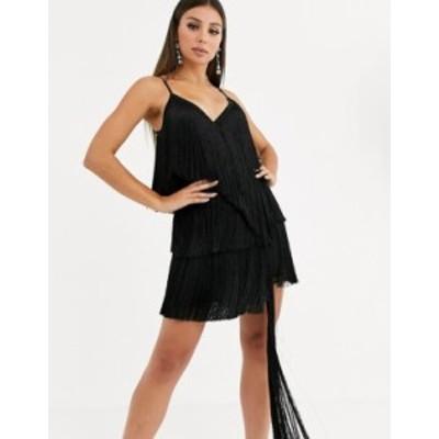 エイソス レディース ワンピース トップス ASOS DESIGN fringe wrap mini dress Black