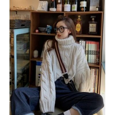 【ガーリードール】 タートルケーブルニット レディース オフホワイト F Girly Doll