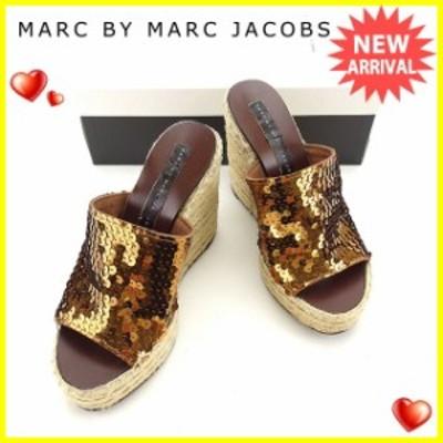 【ラスト1点】 マークジェイコブス サンダル #36 ブラウン スパンコール×麻×レザーMARC JACOBS レディース プレゼント 贈り物 1点物 人