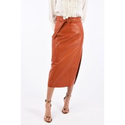 DROME/ドローメ Orange レディース Leather Pencil Skirt with Belt dk