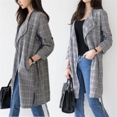 韓国ファッション 大きい 女性用チェック柄ロングトレンチコート