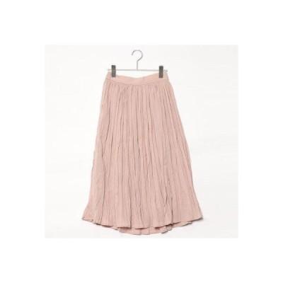 スタイルブロック STYLEBLOCK シフォンワッシャープリーツミモレ丈スカート (ピンク)