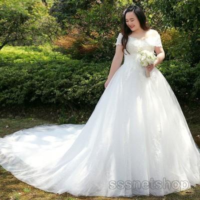 ウェディングドレス 結婚式 花嫁ドレス プリンセスドレス トレーンライン パーティードレス イブニングドレス 大きいサイズ レディース 2020新作【sssnetshop】