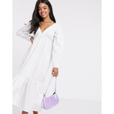 エイソス レディース ワンピース トップス ASOS DESIGN cotton babydoll midi dress with pephem in white White