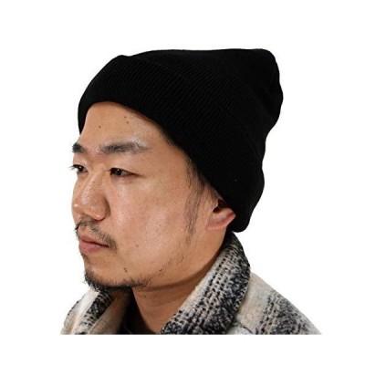 軽くて暖かい ニット帽 メンズ シンサレート 帽子 無地 防寒 ワッチ ビーニー 2010881 (フリーサイズ, ブラック)