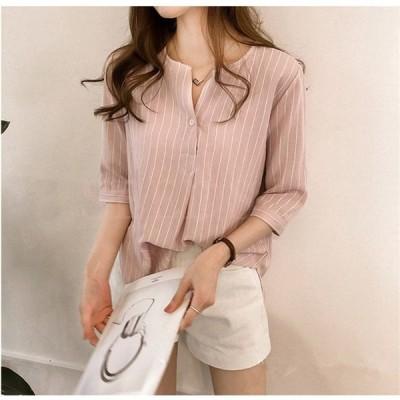 シャツ レディース 少女 夏 クルーネック ストライプ 韓国風 ファッション 七分袖 新発売