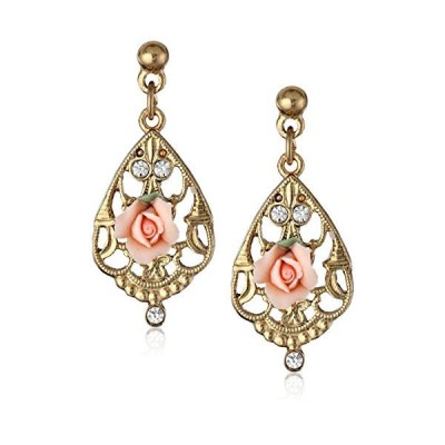 1928 Jewellery Porcelain Pink Rose and Crystal Mosaic Gold Drop Earrings