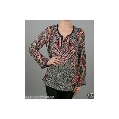 トップス トラーニ Tolani Lolita Silk Printed Tunic Blouse Top in Cement 8555