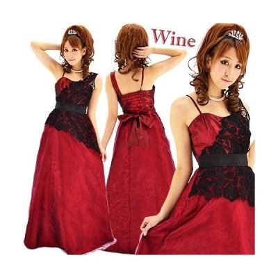 ブラックレースオーガンジー重ねワンショル風ロングドレス