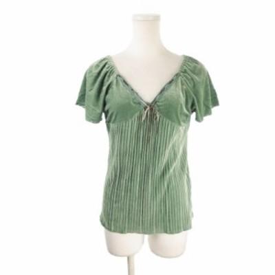 【中古】マーブルインク marcle inc カットソー Tシャツ Vネック 半袖 レース リボン ベロア 02M 緑 グリーン
