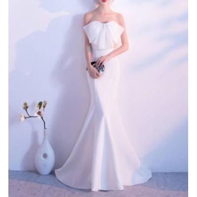 パーティードレス ロングドレス マーメイド ベアトップ タイト リボン エレガント セクシー お呼ばれ 結婚式 二次会 披露宴 演奏会 韓国