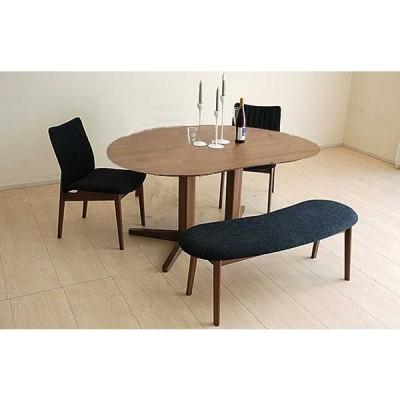 ウォールナットMirage ミラージュ160テーブルRN/CH+椅子2+ベンチ 木部色・生地選択可 家具産地大川製