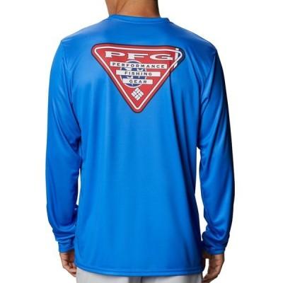 コロンビア シャツ トップス メンズ Columbia Terminal Tackle PFG State Triangle Long Sleeve Shirt (Regular and Big & Tall) VividBlue/TNFlag