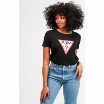 ゲス Guess レディース Tシャツ トップス Basic Triangle T-Shirt Jet Black