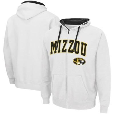 """メンズ パーカー """"Missouri Tigers"""" Colosseum Arch - Logo 2.0 Full-Zip Hoodie - White"""
