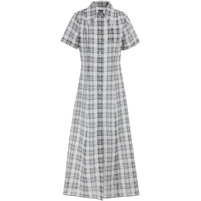 ALEXACHUNG ロングワンピース&ドレス グレー 8 コットン 45% / キュプラ 44% / ポリエステル 11% ロングワンピース&ドレス