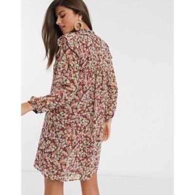 マンゴ レディース ワンピース トップス Mango layered smock dress in floral print