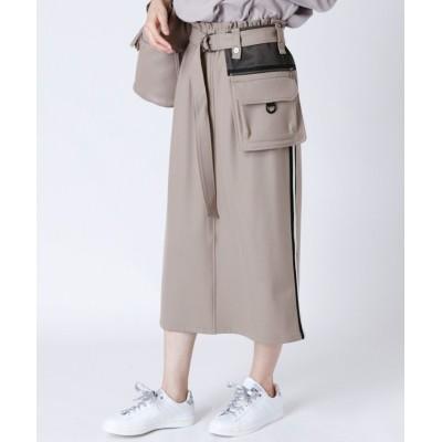 【LASUD】 [soeur7]ベルトポーチ サイドラインスカート レディース ベージュ M LASUD