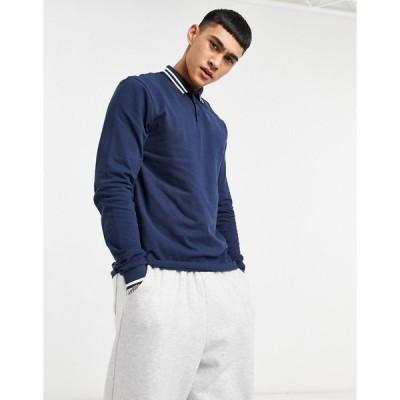 エイソス ポロシャツ メンズ ASOS DESIGN organic long sleeve tipped pique polo shirt in navy エイソス ASOS ネイビー 藍