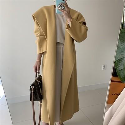 大人っぽくシックな印象 INSスタイル 秋 冬 女性らしい 大きなラペル スリムフィット 腰を括る ゆったりする カジュアル エレガント 気質 チェスターコート