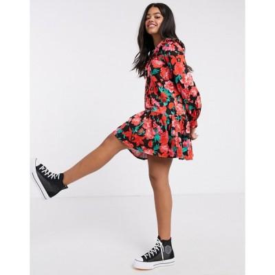 エイソス ミディドレス レディース ASOS DESIGN mini button through collared pep hem tea dress in red floral print エイソス ASOS レッド 赤