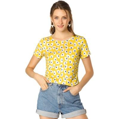 uxcell Allegra K 花柄 ブラウス トップス tシャツ 半袖 丸首 カジュアルレディース イエロー XS