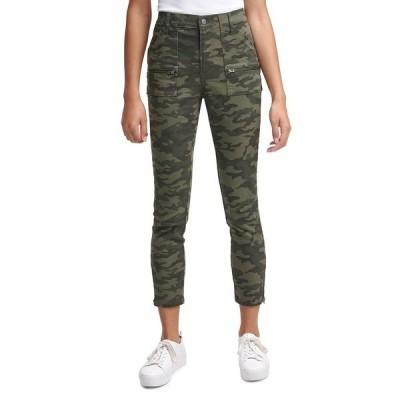 カルバンクライン カジュアルパンツ ボトムス レディース Camo-Print Cropped Skinny Pants Olive Camo