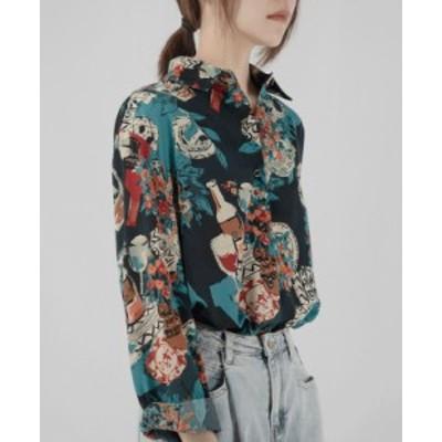 花柄 トップス レディース レトロ 花柄 ブラウス 長袖 半袖 綿 襟付き カジュアル 古着風 春夏 マルチカラー
