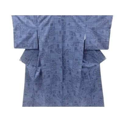 未使用品 仕立て上がり 色紙に源氏車模様織り出し本真綿結城紬着物