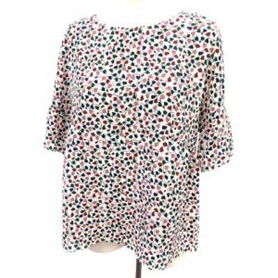 【中古】マックスマーラ  MAX MARA WEEKEND LINE ブラウス シャツ 半袖 シルク 総柄 44 白 マルチカラー  /☆G