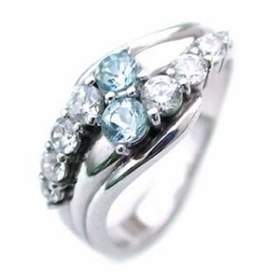 アクアマリン 3月誕生石 Pt アクアマリン・ダイヤモンドリング 結婚10周年記念