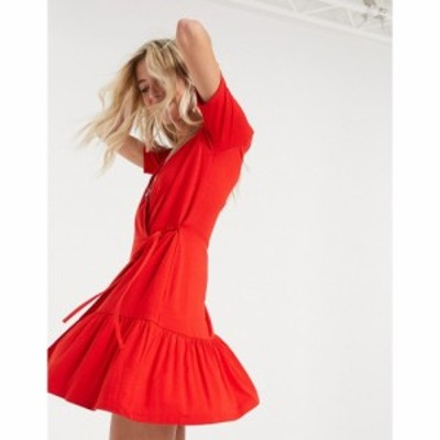 エイソス ASOS DESIGN レディース ワンピース ラップドレス ミニ丈 ワンピース・ドレス Wrap Mini Dress In Red レッド