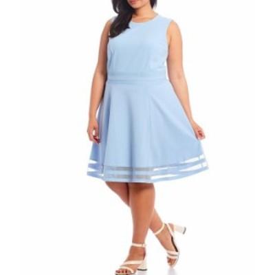 カルバンクライン レディース ワンピース トップス Plus Size Sleeveless Illusion Hem Fit & Flare Dress Serene