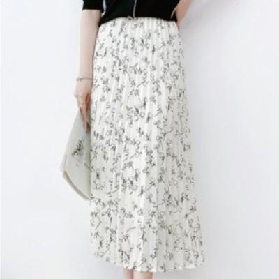 花柄  プリーツ ロングスカート レディース ロングスカート 柄 シフォン ガーリー フェミニン シンプル 春夏 黒 白 きれいめ