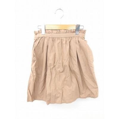 アーバンリサーチ ドアーズ URBAN RESEARCH DOORS スカート フレア ギャザー ミニ 無地 シンプル 綿 コットン F 茶 ブラウン
